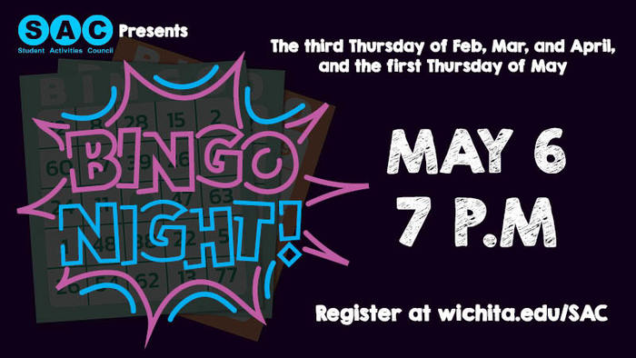 Join SAC for the Finals Frenzy virtual bingo night! Check out our classic games and challenge rounds for the chance to walk away with a fabulous prize. Everyone is welcome to play, but only students are eligible to win. For more information about SAC and to register to participate, go to wichita.edu/SAC.