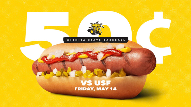 Wichita State University Baseball will have a 50 cent hot dog special, Friday, May 14, 2021, for their game against the University of South Florida. Get them while they're hot and come support your Shockers.