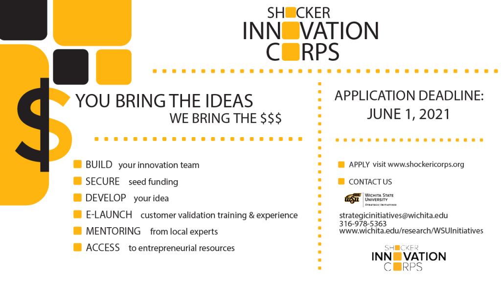 Applications for the Summer 2021 Shocker Innovation Corps (I-Corps) are now being accepted. The deadline to apply is June 1, 2021.