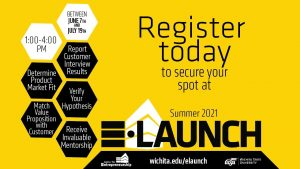 Between June 7th and July 19th. 1:00-4:00 PM. Determine Product Market Fit. Report Customer Interview Results. Verify Their Hypothesis. Match Value Proposition with Customer. Receive Invaluable Mentorship. Register today to secure your spot at Summer 2021 E-Launch. wichita.edu/elaunch