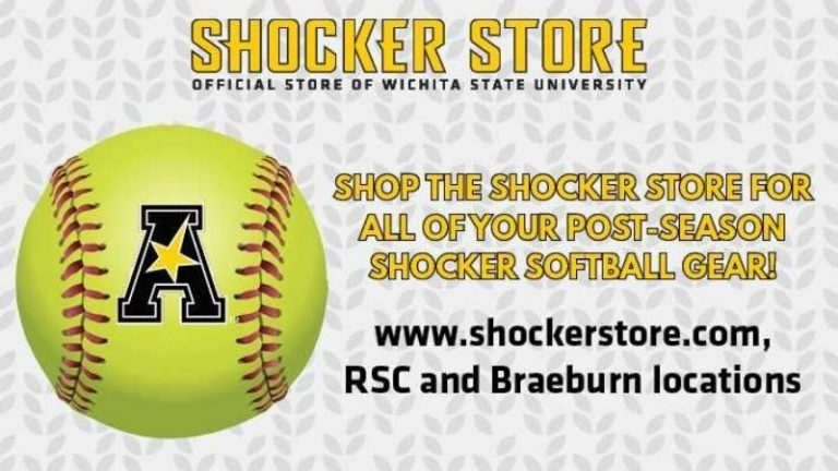 Shocker Store Official Store of Wichita State University | Shop the Shocker Store for all of your post-season Shocker Softball Gear | www.shockerstore.com, RSC and Braeburn Square locations