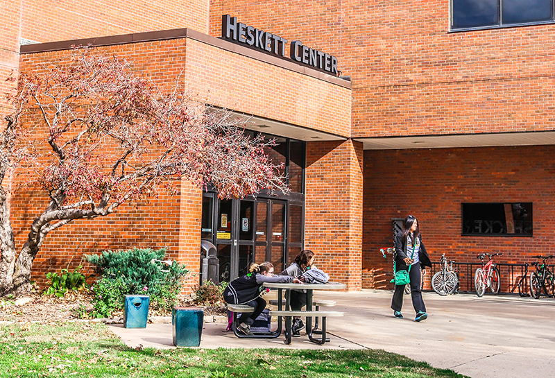 The outside of the Heskett Center at WSU.