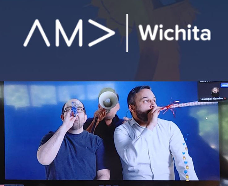 Scene from one of the virtual award presentations where three area professional marketers use horns and loudspeakers to announce that Wichita State University was a category winner.