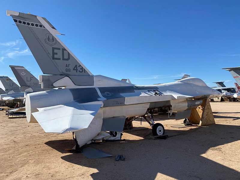An F-16 Fighting Falcon in storage at the 309th Aerospace Maintenance and Regeneration Group (AMARG) at Davis-Monthan Air Force Base. The aircraft is one of two that will be used to create a digital replica of the fighter.