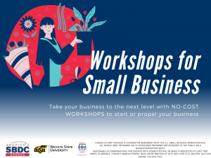 Workshops for Small Business, Take your business to the next level with NO-COST WORKSHOPS to start or propel your business. America's Kansas SBDC. Wichita State University. Presented by SBA U.S. Small Business Administration. Funded in part through a cooperative agreement with the U.S. Small Business Administration. All Kansas SBDC programs or co-sponsored programs are extended to the public on a nondiscriminatory basis. Reasonable accommodations for persons with disabilities will be made if requested at least two weeks in advance. Contact Marcia Stevens, who can be reached at 5015 East 29th St N, Wichita, KS 67220 phone: 316-978-3193.