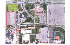 Map of where construction crane replacement will occur at Hubbard Hall.