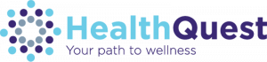 """Healthquest, """"Your path to wellness,"""" logo."""