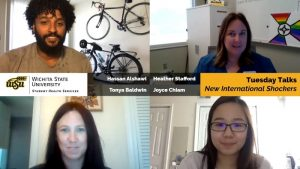 Image Alt Text Pictures of Hassan Alshawi, Heather Stafford, Tonya Baldwin, and Joyce Chiam with Text: Wichita State University Student Health Services, Tuesday Talks, New international Shockers.