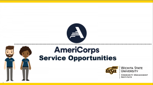 """A slide of the PowerPoint that reads """"AmeriCorps Service Opportunities."""