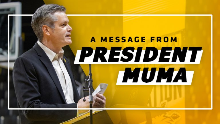 Graphic featuring a message from Pres. Rick Muma.