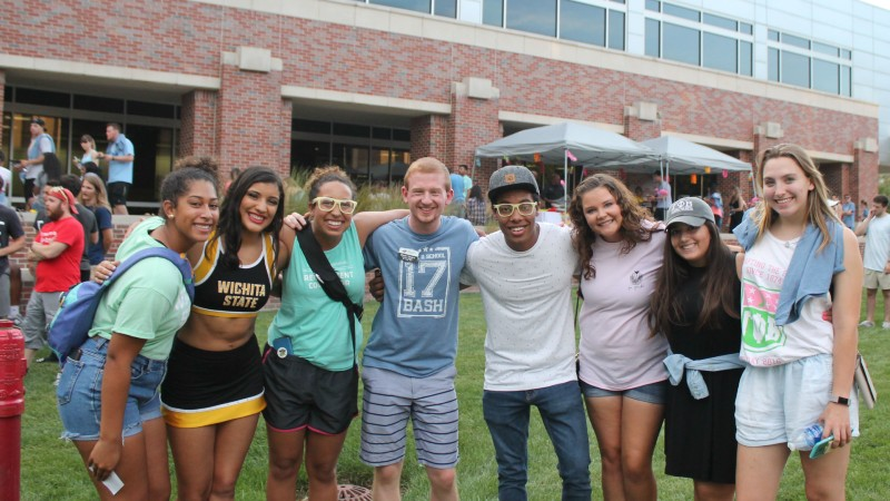 Students and staff gathered together for a group photo at Back to School Bash