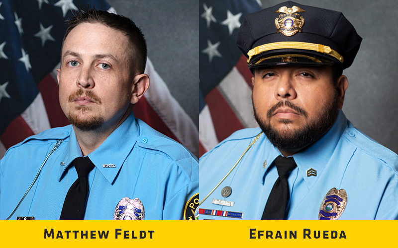 Sgt. Efrain Rueda and Ofc. Matthew Feldt of the Wichita State University Police Department were awarded the Wichita State Life Saving Medal on Thursday, July 8 for their recent heroic actions and exemplifying the core values of the police department.