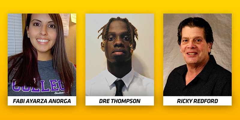 Fabi Ayarza Anorga, Dre Thompson, and Ricky Redford, W. Frank Barton School of Business' scholarships for transfer students recipients graphic.