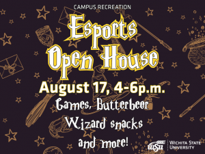 A dark purple background with various objects seen in harry potter (wands, frogs, hats, etc). The text infront says Esports Open House, August 17th, 4-6 p.m. Games, Butterbeer, Wizard snacks and more!