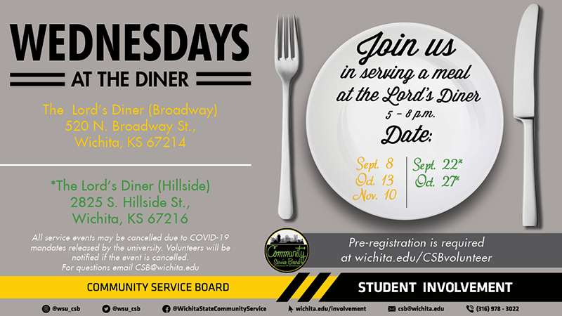 Join the Community Service Board serving a free meal at the Lord's Diner. We will alternate serving dinner at the Diner's two location. We will be serving from 5:00-8:00pm. Dates scheduled for volunteering are as follows: 9/8, 9/22, 10/13, 10/27, 11/10. For location details and to sign up please visit here.