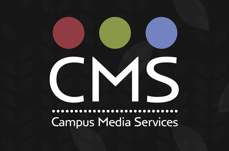 CMS Campus Media Services logo with wheat motif background.