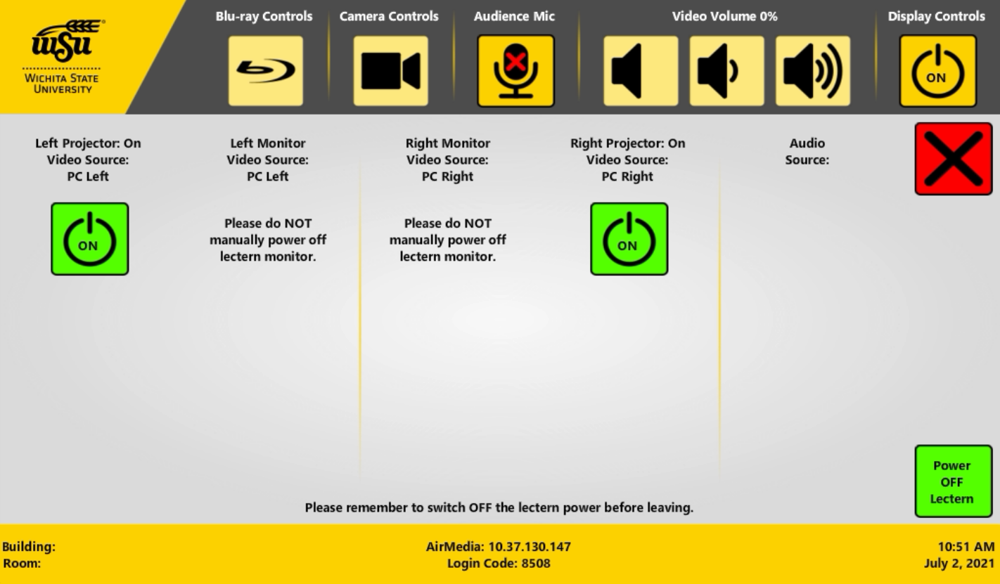 Image shows a screenshot of the display control screen
