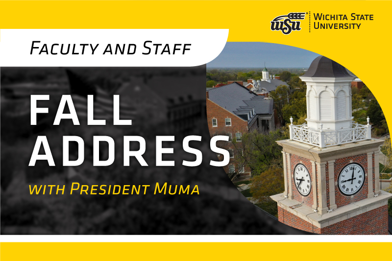 Faculty and Staff Fall Address with President Muma graphic.