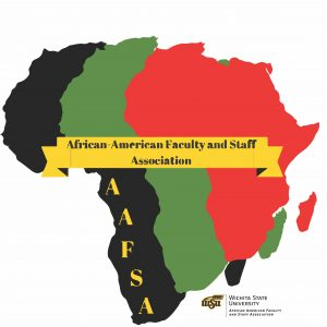A graphic featuring a black, green and red Africa superimposed over one another and the text 'African-American Faculty and Staff Association (AAFSA).'