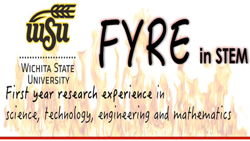 """Background of flames with text overlay stating """"First year research experience in science, technology, engineering and mathematics"""""""