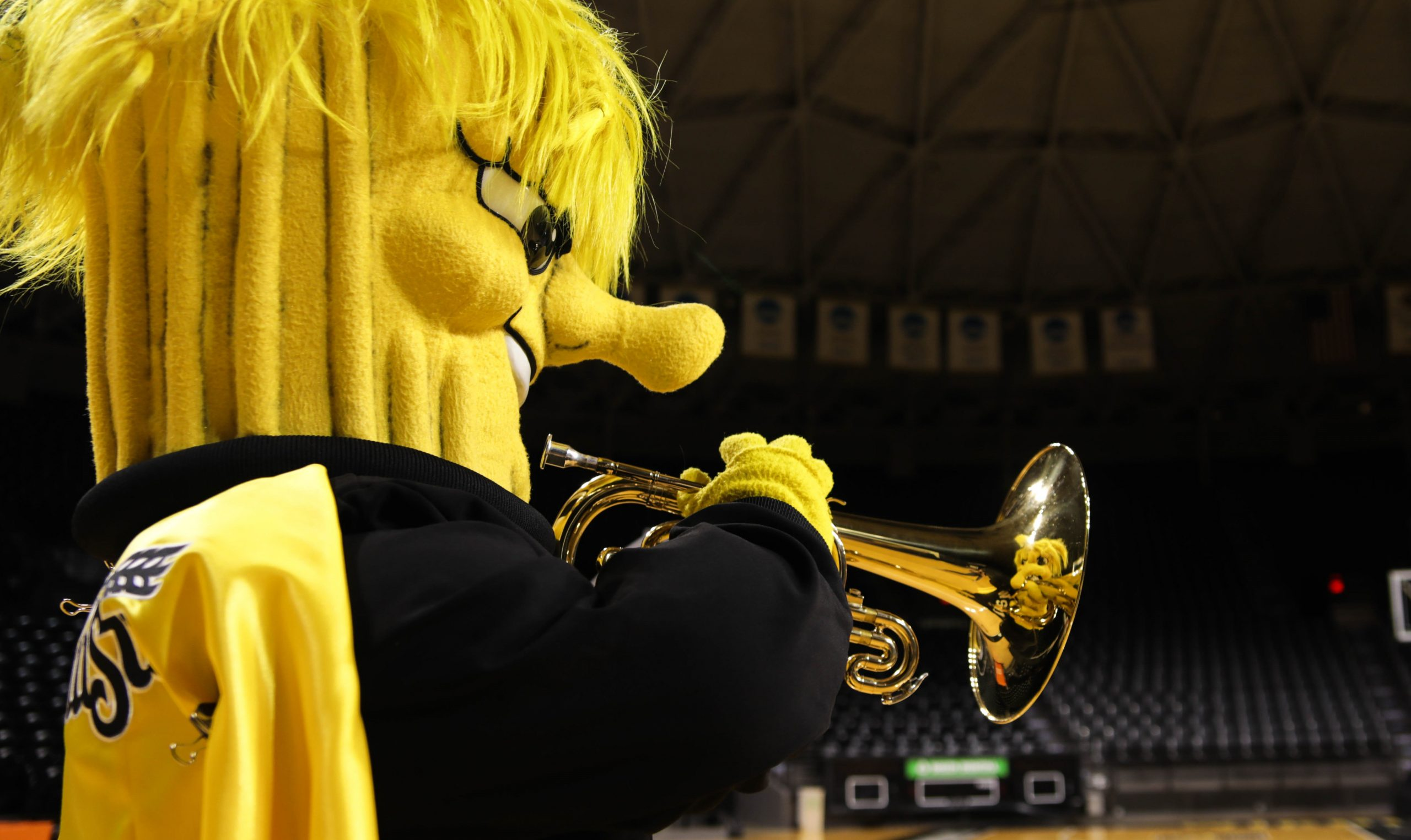 Picture of Wu playing trumpet.