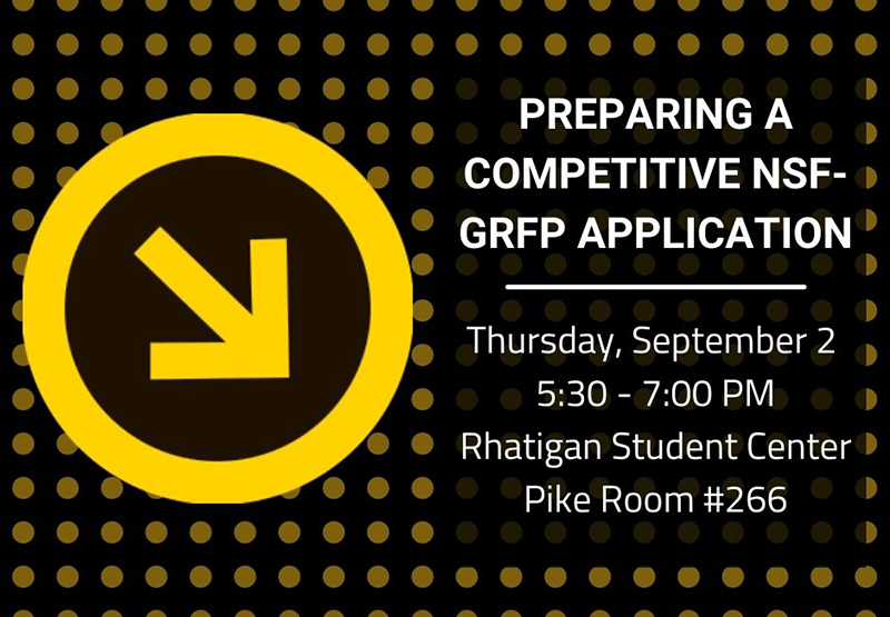Graphic featuring text 'Preparing a competitive NSF-GRFP application: Thursday, September 2, 5:30 - 7:00 PM, Pike Room 266, Rhatigan Student Center.'