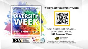 First Annual Diversity Week, September 13-17: One Campus, Many People, Embracing Diversity. Sponorsored by Wichita State University Chief Diversity Officer, Housing and Residence Life, Facilities Services, Academic Affairs. #WSUDiversityWeek