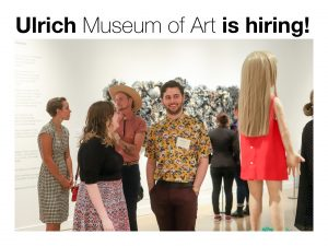 """Graphic of people visiting the Ulrich Museum of Art featuring the text """"Ulrich Museum of Art is hiring."""""""