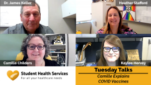 Pictures of Dr. James Keller, Heather Stafford, Camille Childers, and Kaylee Hervey with text: Student Health Services, Tuesday Talks, Camille Explains COVID Vaccines