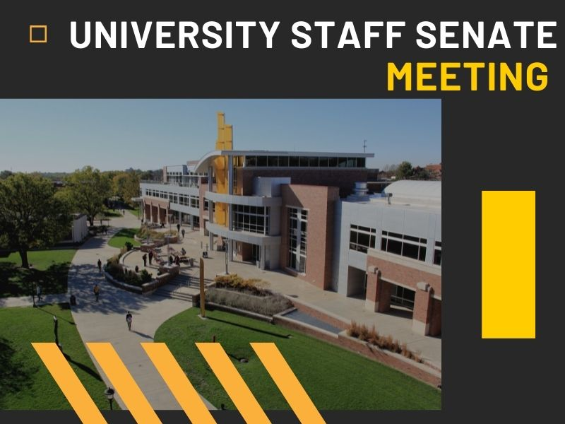 Graphic featuring image of Rhatigan Student Center and the text 'University Staff Senate Meeting.'