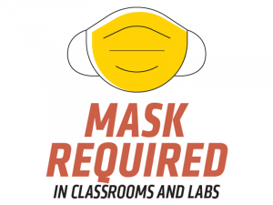 Graphic featuring mast with text 'Mask Required in Classrooms and Labs.'