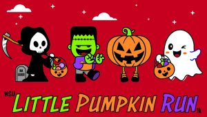 Graphic on red background with grim reaper, Frankenstein, Jack-o'-lantern and ghost with text 'WSU Little Pumpkin Run 1K.'