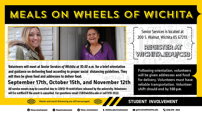 Join the Community Service Board for a morning of delivering meals with Meals on Wheels. Volunteers will be given instructions about volunteering with addresses and food for delivery. Volunteer dates are as follows, 9/17, 10/15, 11/12 from 10:30am-12:30pm. Volunteers may sign up here.