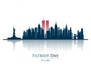 Graphic featuring Manhattan skyline and the text 'Patriot Day 09.11.2001.'
