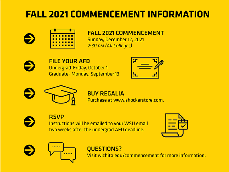 Fall 2021 Commencement Information Fall 2021 Commencement will be held on Sunday, December 12, 2021 at 2:30pm for all colleges. File your AFD. Undergrad deadline is Friday, October 1, 2021. Graduate deadline is Monday, September 13. Buy Regalia. You can purchase regalia at www.shockerstore.com. RSVP. RSVP instructions will be emailed to your WSU email two weeks after the undergrad AFD deadline. Questions? Visit wichita.edu/commencement for more information.