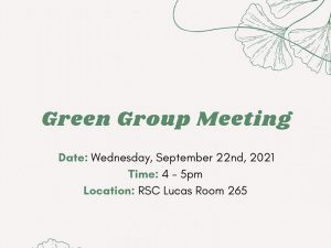 Image Description: Infographic, with ginko leave design, Green Group Meeting.
