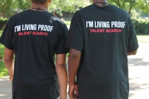 2 boys wearing shirts that state: I'm Living Proof- Talent Search on the back