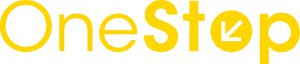 OneStop logo in yellow letters on white background.