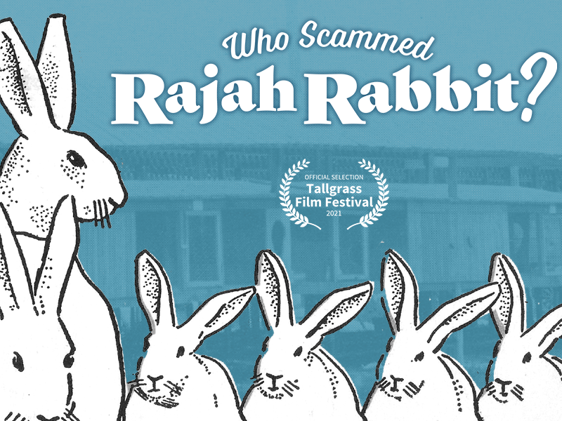 """Title """"Who Scammed Rajah Rabbit?"""" appears on a blue background next to an illustrated image of white rabbits."""