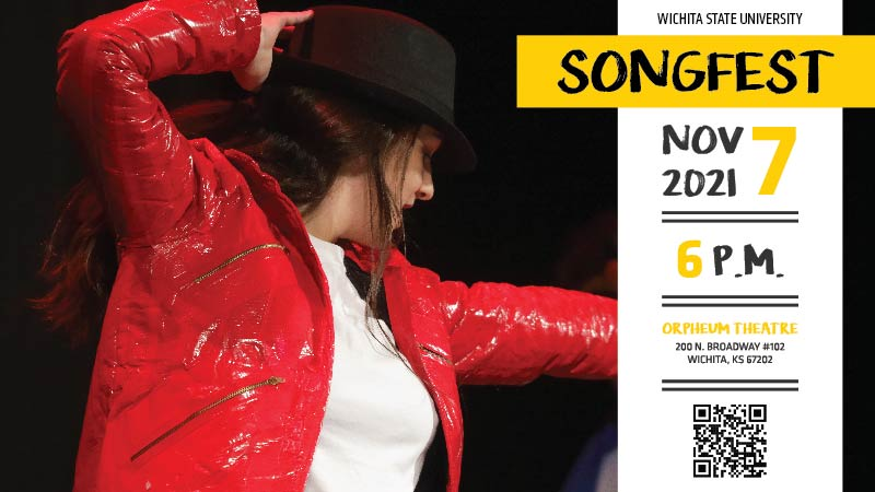 Picture of a student dressed as Michael Jackson striking a pose. On the right includes the following information: Songfest, November 7 2021 and a QR code.