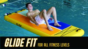 Picture of student working out on surf board featuring text 'Image Alt Text Glide Fit for all fitness levels.'