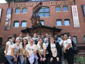Picture of a group of Wu's Big Event volunteers in front of Museum of World Treasures.