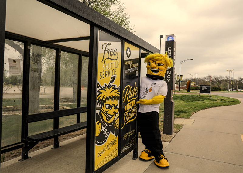 Picture of Wu Wu waiting at a shuttle stop.