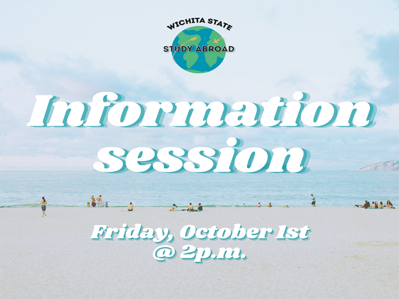 Photo featuring people at a beach and text 'study abroad information session on October 1st at 2 p.m.'