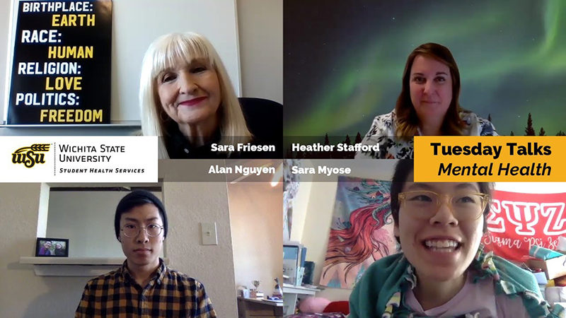 Pictures of Sara Friesen, APRN, PMHNP-BC, Nurse Heather, WSU graduate student Alan Nguyen, and WSU student Sarah Myose for a discussion about mental health! Brought to you by Wichita State Student Health Services.