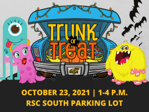 Graphic featuring blue, pink and yellow monster surrounding blue car full of candy with text 'October 23, 2021-1-4 p.m. RSC South Parking Lot.