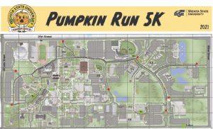 Map of Wichita State campus featuring text 'Pumpkin Run.'