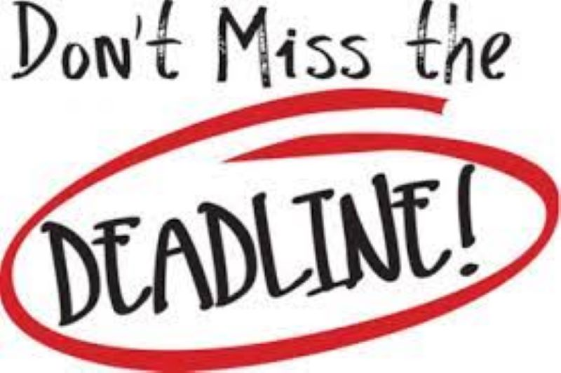 Graphic with white background and text 'Don't miss the Deadline.' 'Deadline' is circled in red.