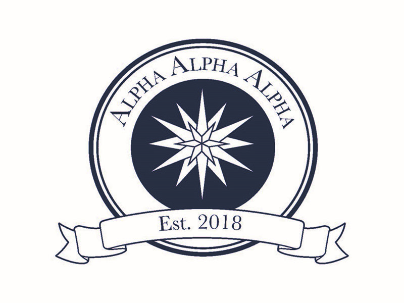 Tri-Alpha logo in dark blue on white background with text 'Alpha, Alpha, Alpha and est. 2018.'