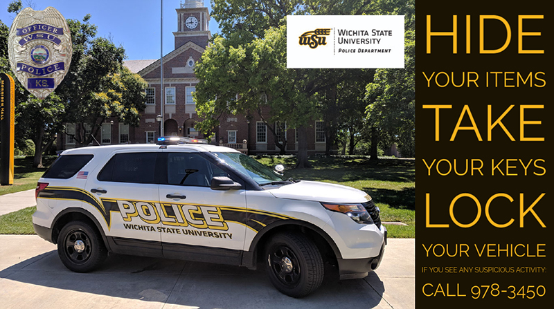 WSUPD vehicle parked in front of Morrison Hall with words Hide, Take, Lock on a side bar.
